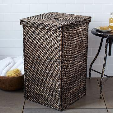 Modern Weave Lidded Hamper Woven Laundry Basket Tall Basket