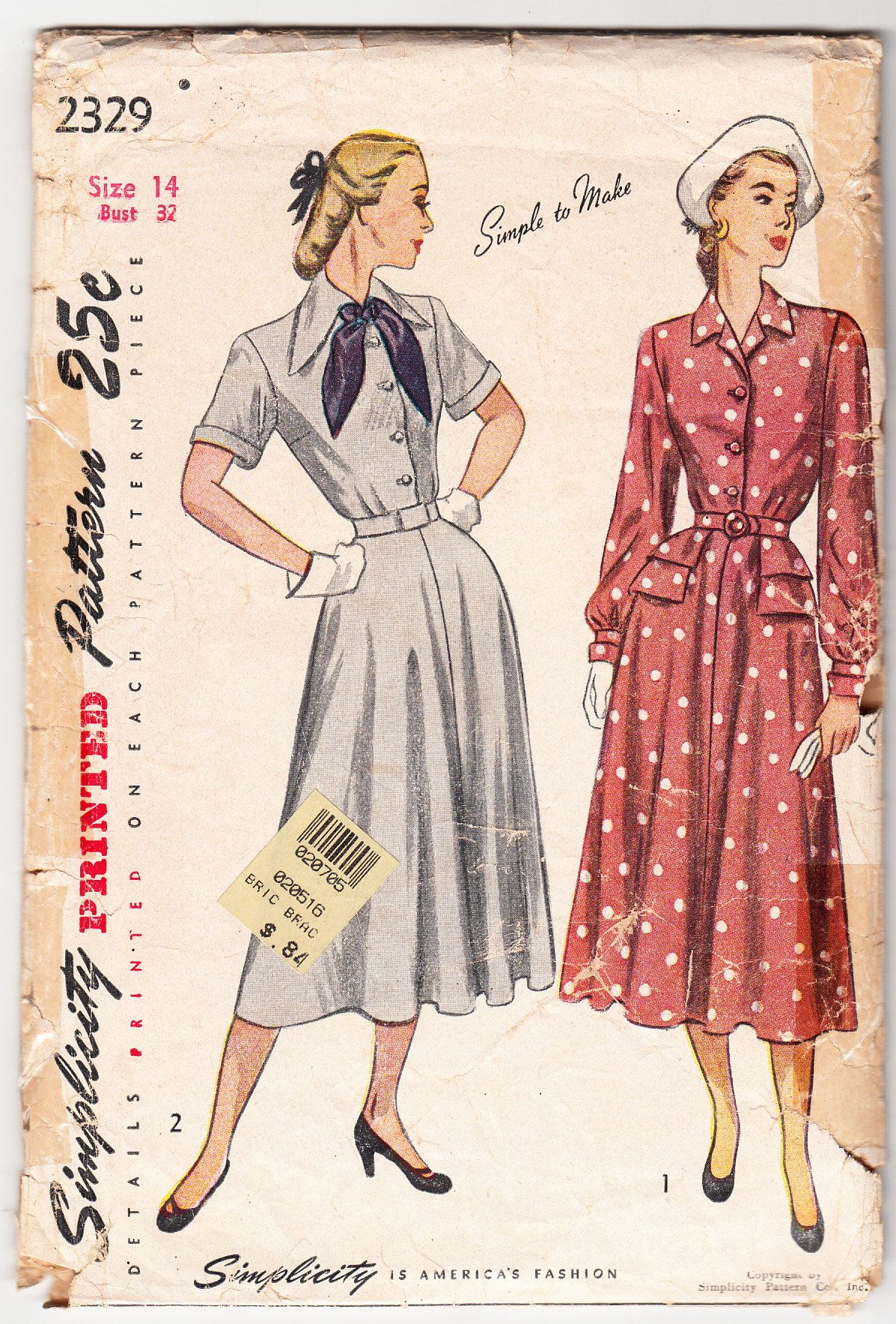 Vintage 1948 Simplicity 2329 Sewing Pattern Misses/' One-Piece Dress Size 14 Bust 32