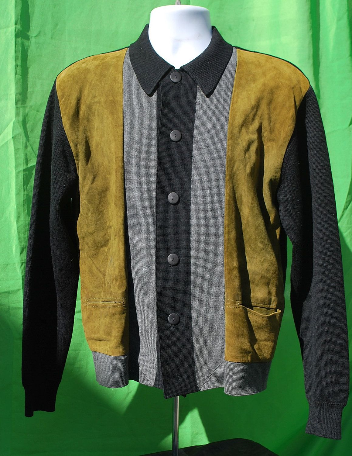 Vintage 60 s men s sweater leather and wool italian XL rat pack button  cardigan rockabilly by thekaliman. adeec7e51