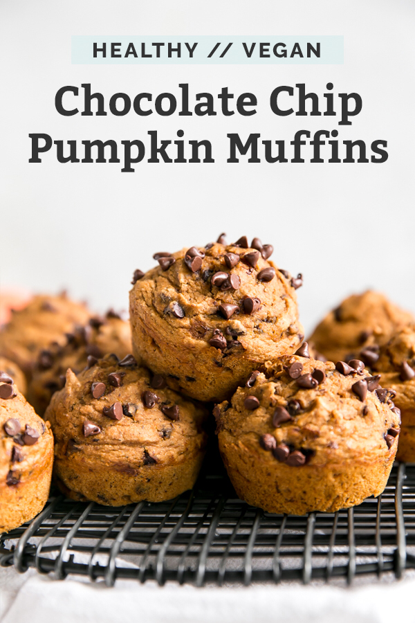 Vegan Pumpkin Muffins with Chocolate Chips #flaxseedmealrecipes