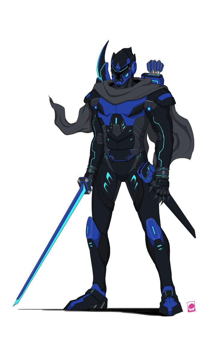 Magxus Ninja Blue Cyborg Colored by sharknob | Concept art ...