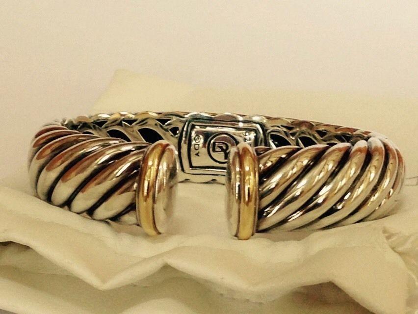 david yurman sterling silver u0026 18k gold classic waverly cable kick cuff bracelet davidyurman