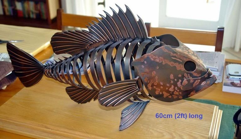 metal fish sculpture life size scrap metal art for sale