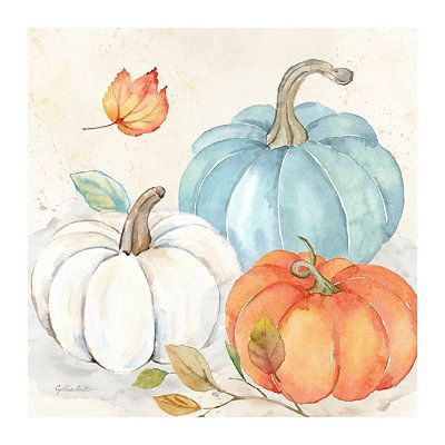 Bring a bright and colorful accent to your fall decor with our Pumpkin Trio Canvas Art Print! These delightful pumpkins will look lovely on your walls.            Art measures 40L x 1W x 40H in.          Distinctively printed on stretched canvas          Wrapped edges complete the look          Features a three (3) pumpkins          Hues of blue, orange, and white          Weight: 5.8 lbs.          Comes ready for wall mount; no additional hanging hardware required          Care: Dust with a sof