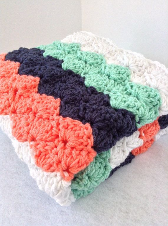 Chunky striped crochet baby blanket, coral navy mint white, nautical ...