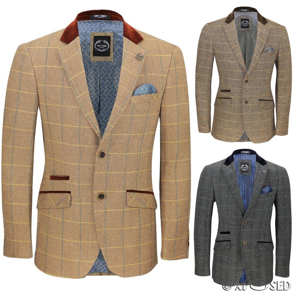 328781919fdd6 Mens Vintage Tweed Herringbone Check Blazer Brown Grey Velvet Collar Elbow  Patch