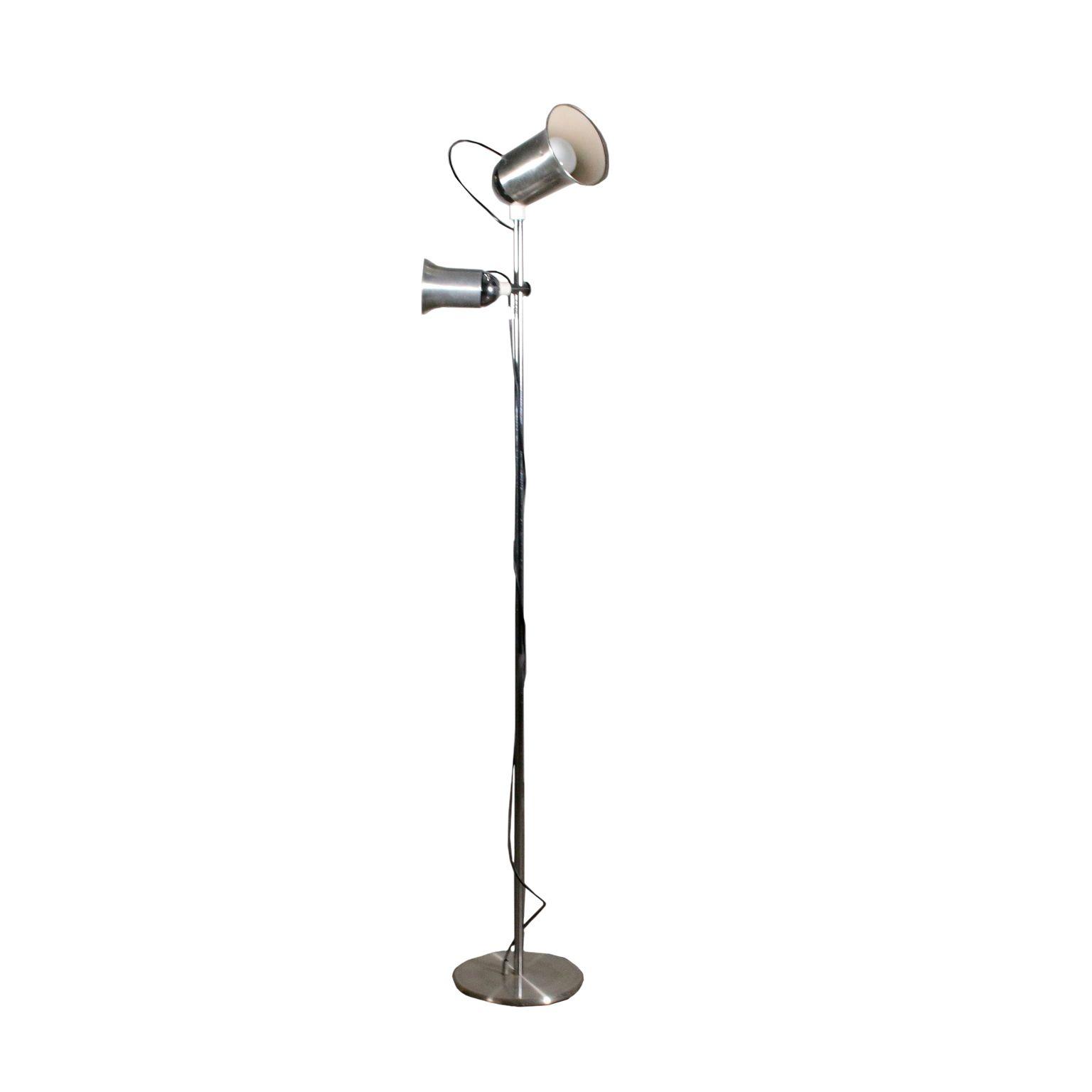 Vintage Stehlampe Metall Aluminium Vintage Italien 70er Jahren