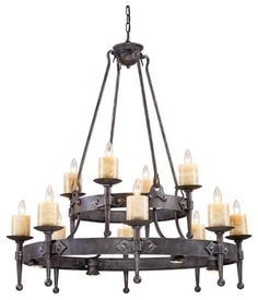 Rustic Metal Six Light Hanging Candle Chandelier Candle