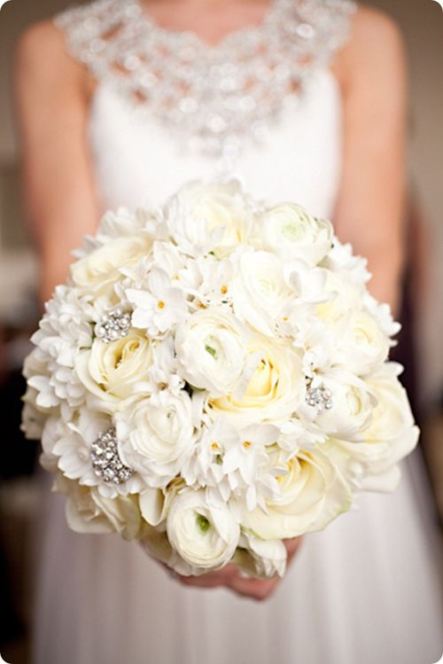 Cream And White Floral Bridal Bouquet With Silver Details
