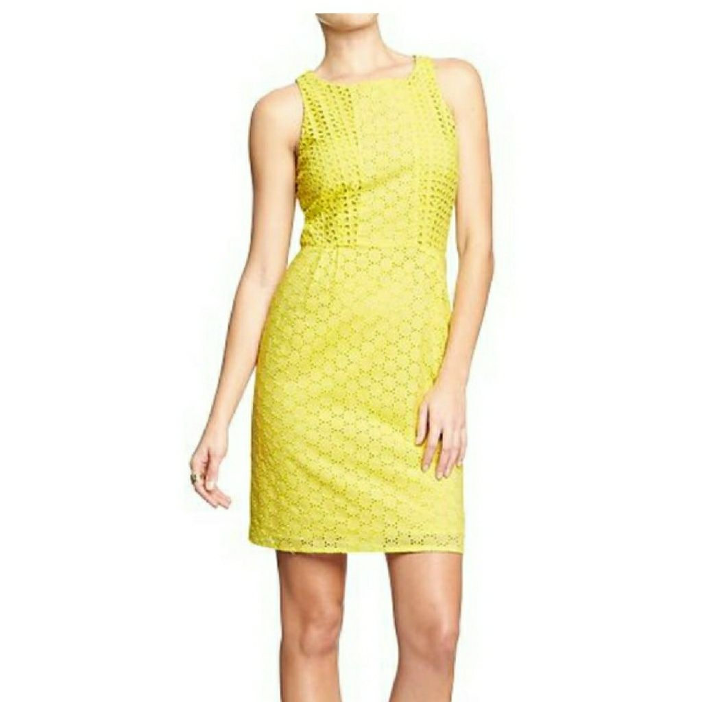 Yellow Sleeveless Eyelet Dress Eyelet Dress Dresses Shift Dress [ 1024 x 1024 Pixel ]