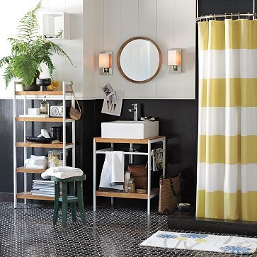 gold and white striped shower curtain. yummy shower curtain  similar to one I saw on HGTV dream home that have