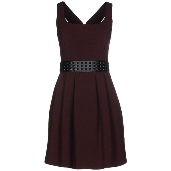 Hope Collection Short Dress (€160) ❤ liked on Polyvore featuring dresses, cocoa, stretchy dresses, short sleeveless dress, zipper mini dress, brown sleeveless dress and zipper dress