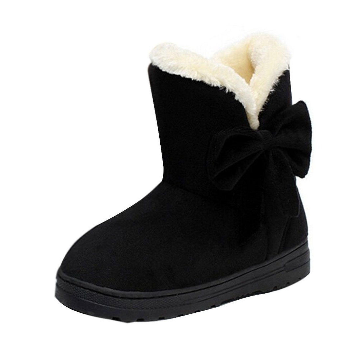 Maybest Womens Winter Classic Faux Fur Snow Ankle Boots Midcalf Bowknot  Flat Shoes Black 9 B M