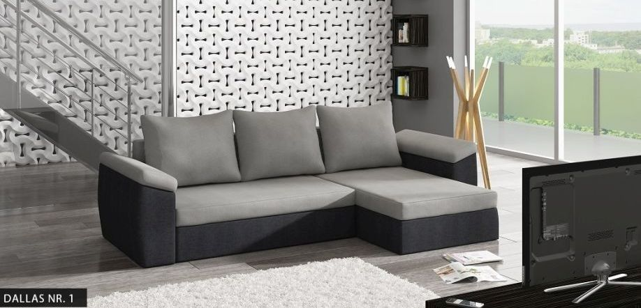Corner Sofa Bed Dallas In Grey And Black With 1 Storage Free Delivery