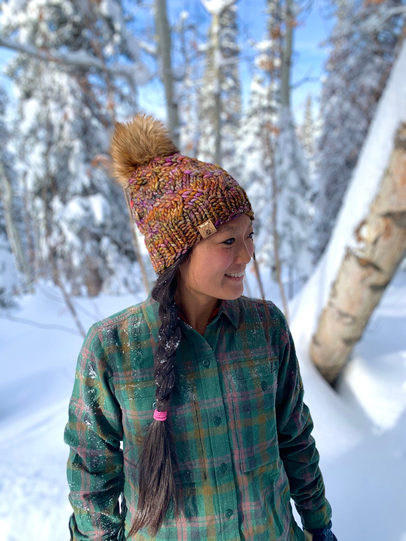 Knitted beanie Winter hat Warm merino blend wool winter hat
