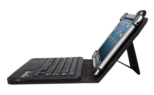 """Add some versatility to the use of your smart device by incorporating this universal keyboard case for all 7"""" and 8"""" tablets into your virtual work station. Made from top-notch faux leather for a professional look, this case features a removable ABS keyboard for those times when typing is key. It folds into an easel position with a 120 degree angle for comfortable viewing. Plus, it offers a work time duration of 90 hours with a standby time of 60 days. UPC & product labeling se..."""