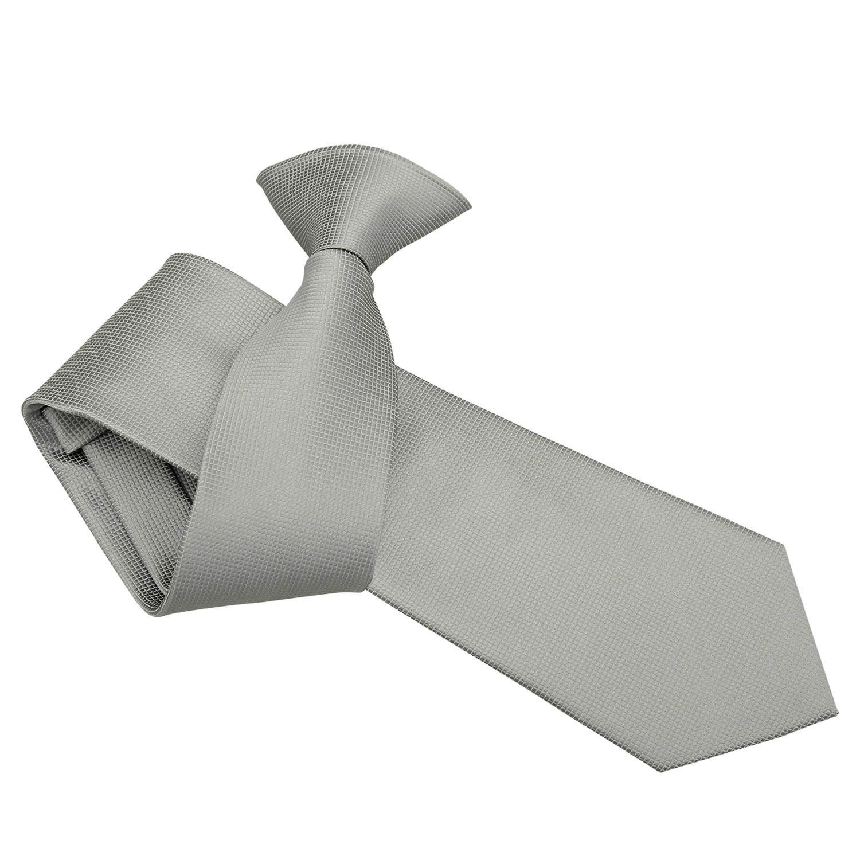 DQT Woven Plain Solid Check Silver Handkerchief Hanky Pocket Square