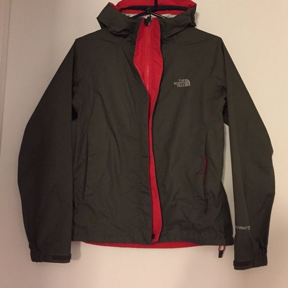 The North Face HyVent DT jacket ***Ask if you have questions*** Worn ONCE, super cute pink. I like to wear hoodies under my North Face jackets'  **No Pets, None smoking home** SE Color scheme great for Christmas!!  Dark Olive & bright red. The North Face Jackets & Coats