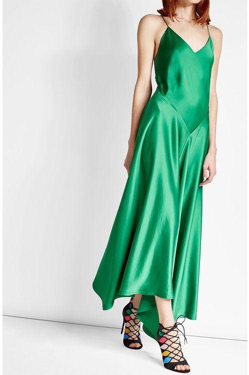 DKNY Green Satin Dress $709 At StyleBop Glossy satin dress ...