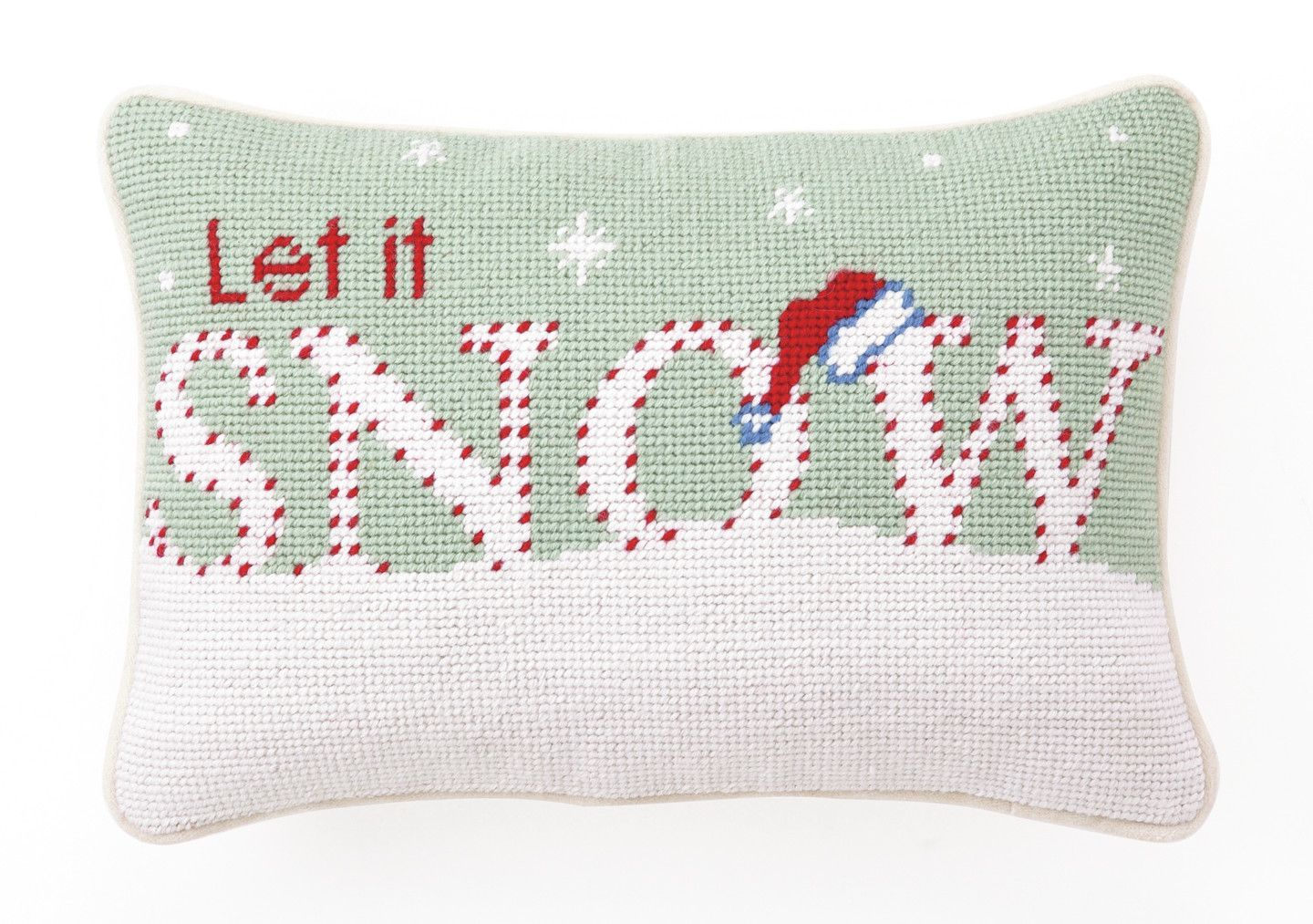 "Needlepoint ""Let it Snow"" Wool Throw Pillow"