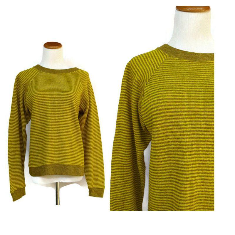 Mens Vintage Sweater Mustard Striped Space Dye 70s