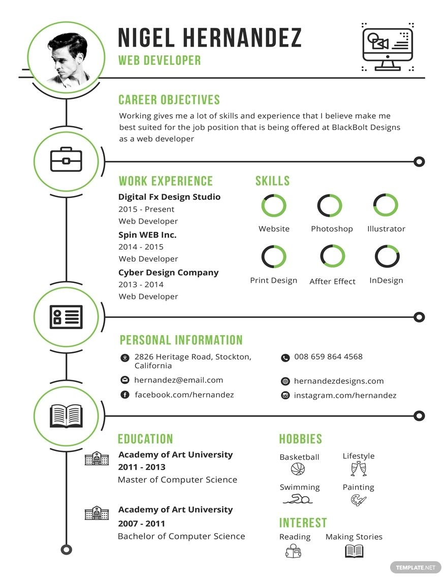 The Best Infographic Resume Template Free Download Background
