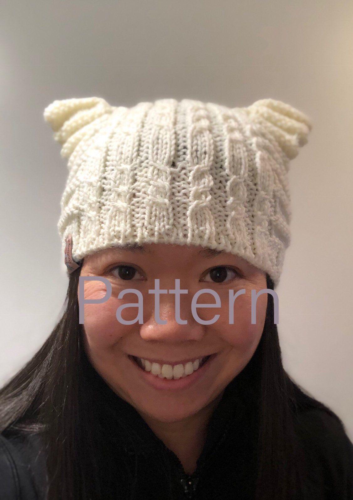 Cat Ear Beanie KNIT PATTERN Mock Cable Hat, Pussyhat Knit ...