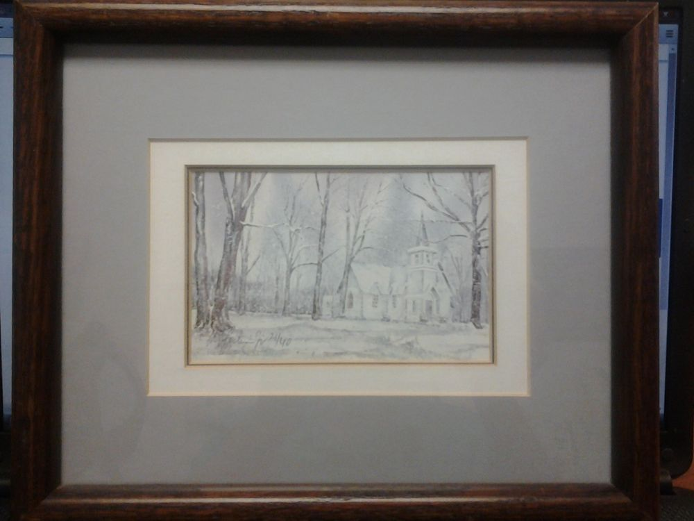 Virginia church in snow watercolor print Baxter Perkinson 1985 realism rustic #Realism