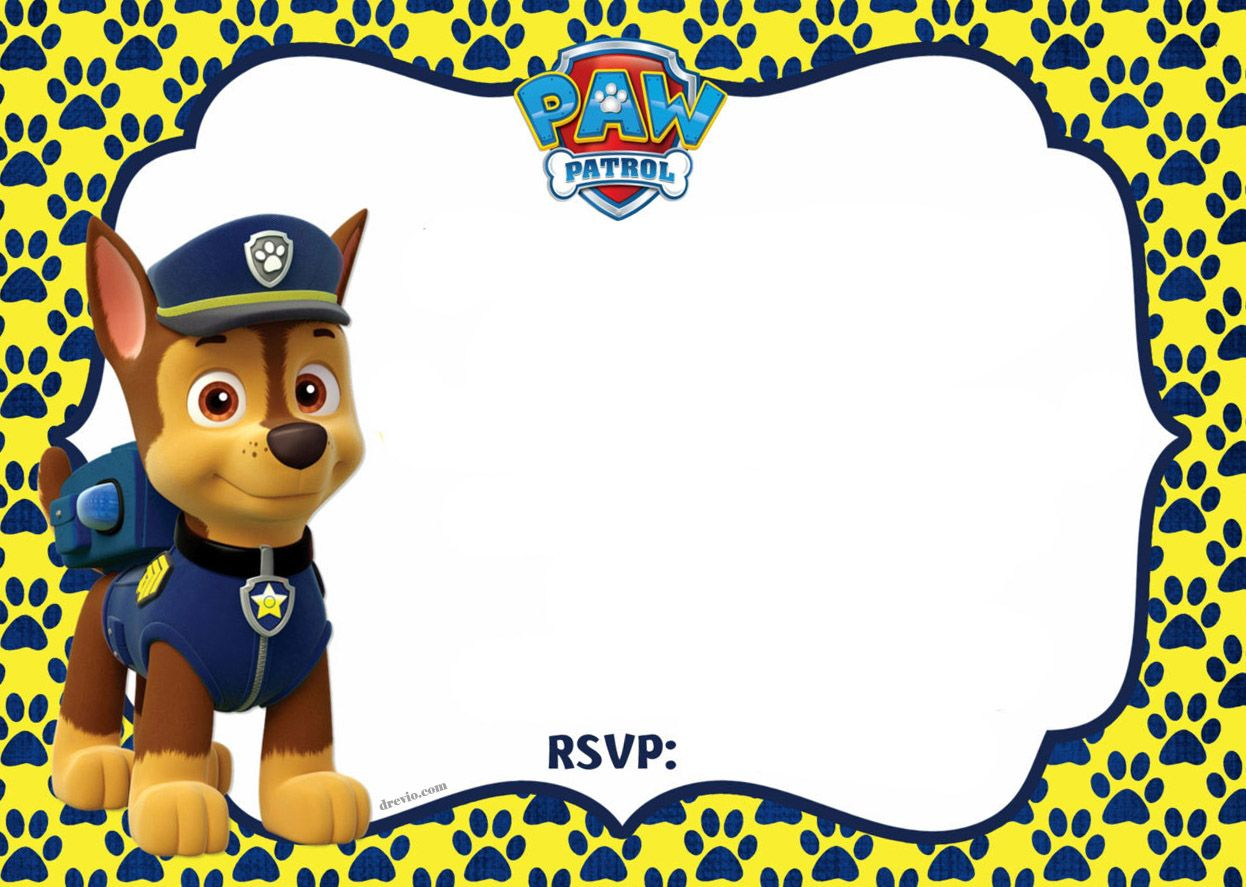 FREE Printable Paw Patrol Chase Invitation Template Paw Patrol - Paw patrol invitation template