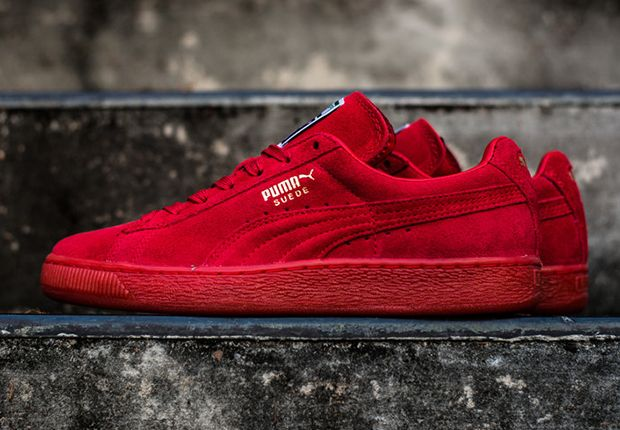 all red puma suede