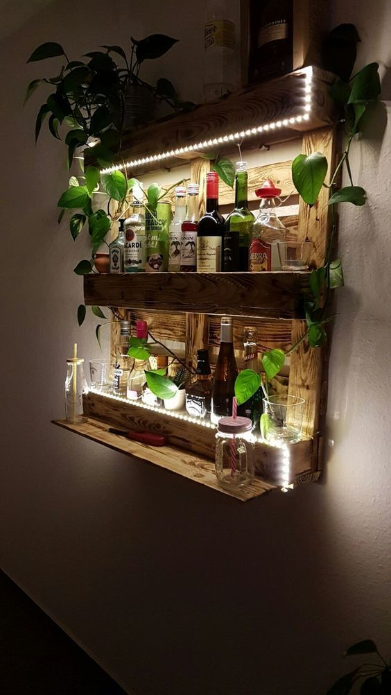 Photo of A great DIY pallet shelf with integrated lighting! An eye-catcher in everyone … – Katie