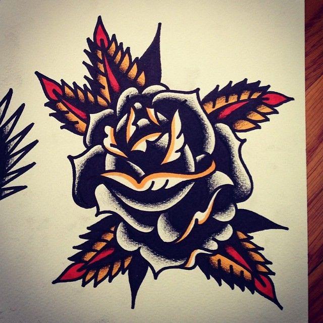 Trad Black Flower Traditional Tatuajes Tatuaje Neotradicional