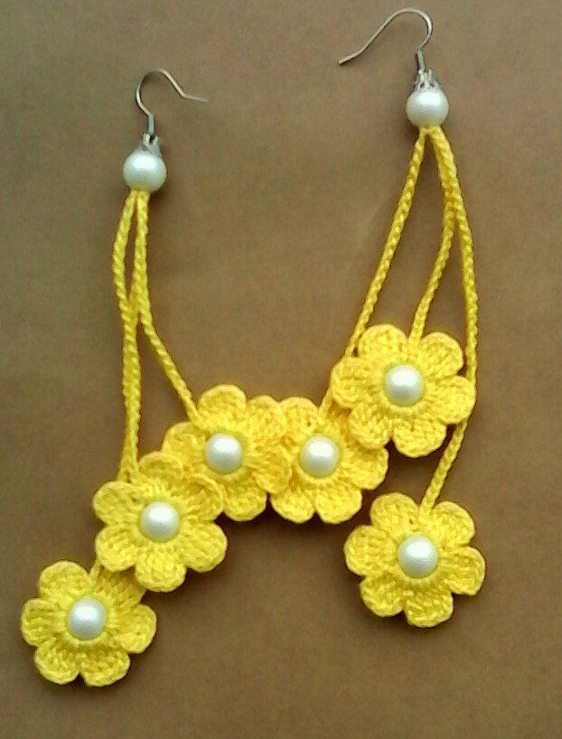 Crochet earrings, crochet flower earrings, crochet jewelry, yellow ...