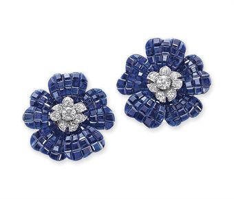 A PAIR OF 'MYSTERY-SET' SAPPHIRE AND DIAMOND PAVOT EAR CLIPS, BY VAN CLEEF & ARPELS