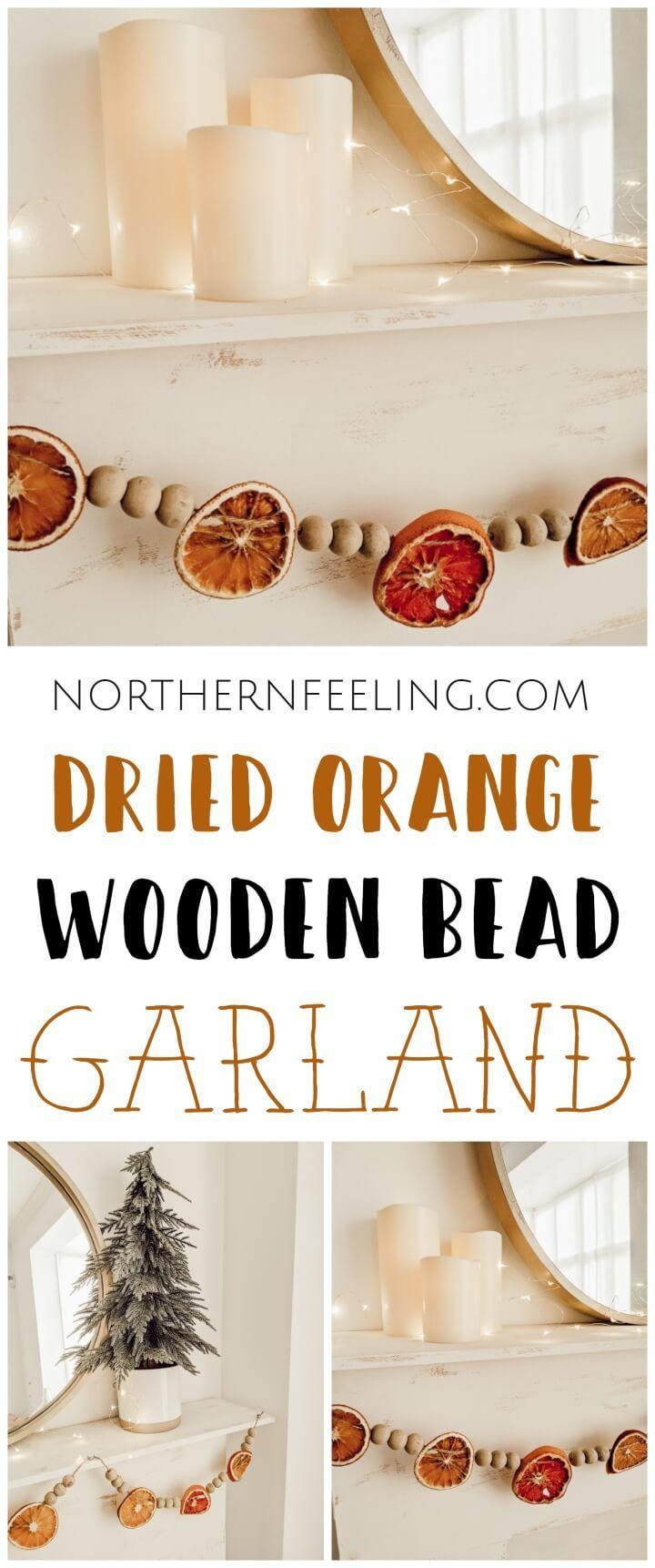 DIY Dried Orange Wooden Bead Garland Wooden bead garland