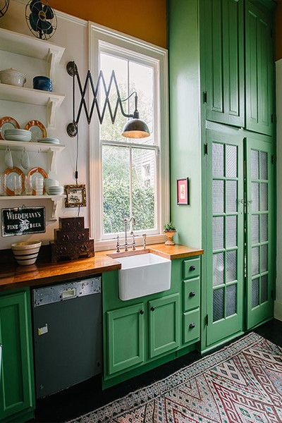 It S Easy Being Green Green Kitchen Cabinets Kitchen Interior Kitchen Cabinets Decor