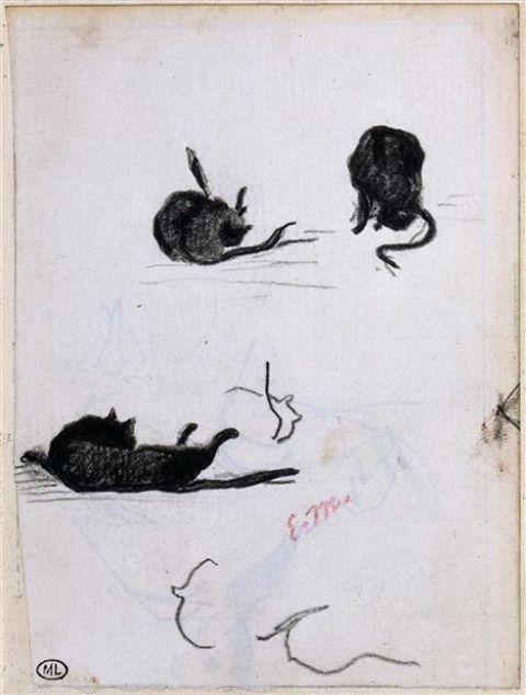 Photo: Édouard Manet - Sketches of a Black Cat (1868)