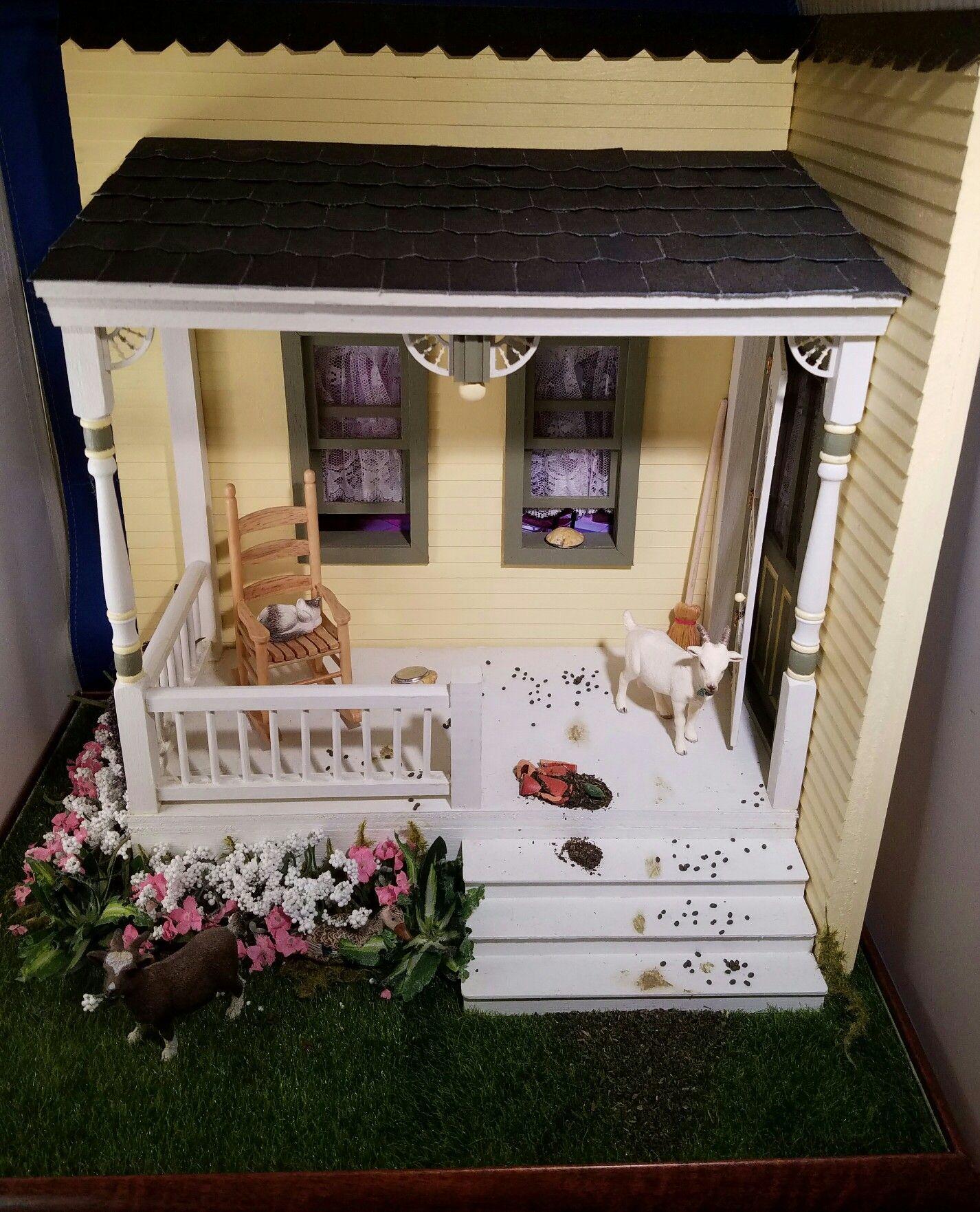 FOR SALE: Escape Goats farmlife vignette. Miniature. Dollhouse.  Created by Mare Simonar-Dykes