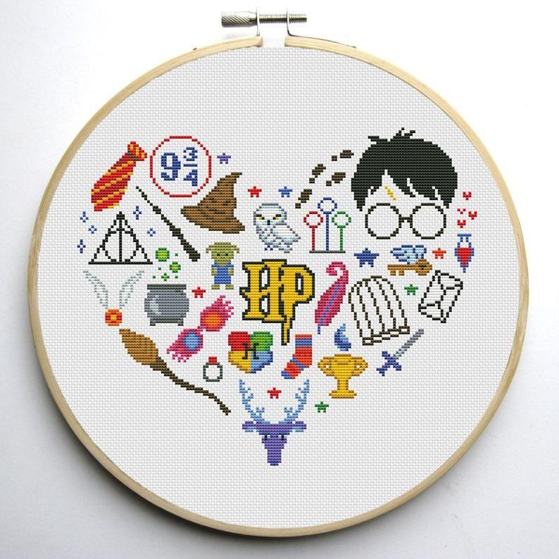 Harry Fan Art Heart Cross Stitch Pattern Pdf Instant Etsy Harry Potter Cross Stitch Pattern Counted Cross Stitch Patterns Free Cross Stitch Patterns
