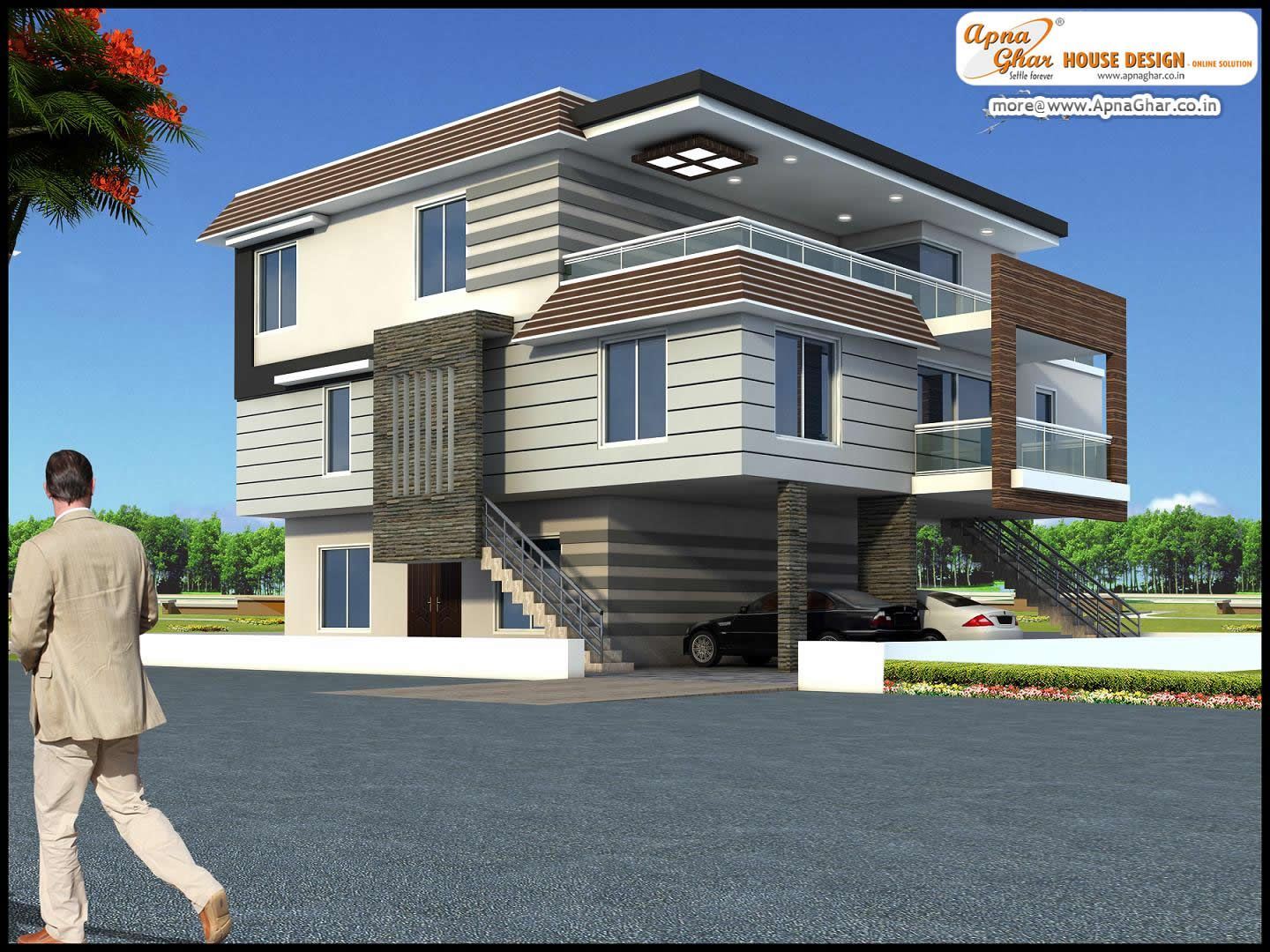 5 Bedroom Modern Triplex 3 Floor House Design Area 140 Sq Mts 14m X 10m Click On This Link Http Apnaghar Co In Login Aspx Returnurl 2f Evler Tasarim