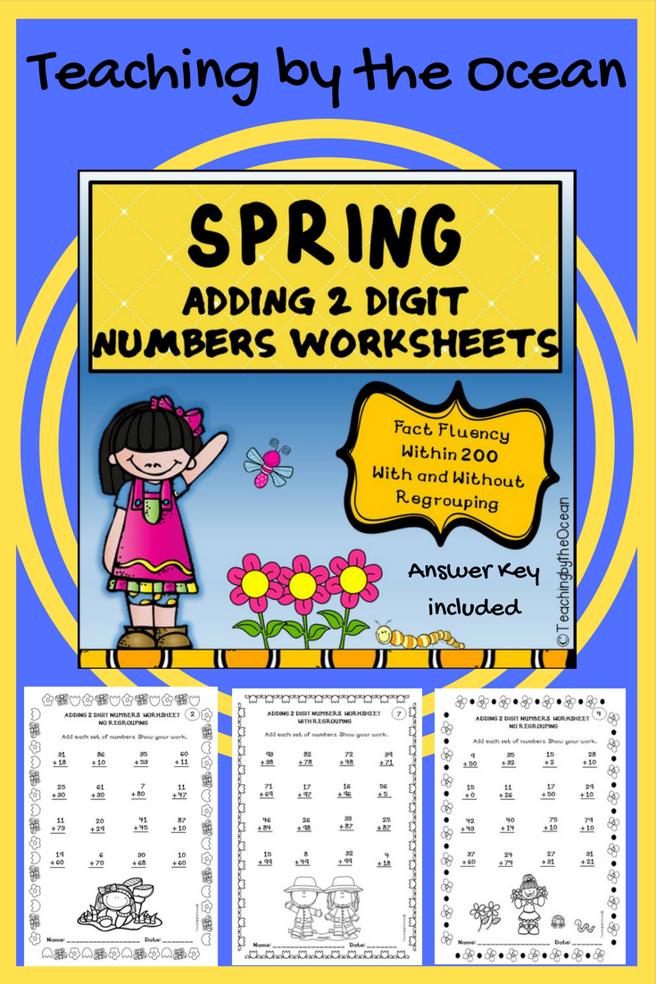 Adding Two Digit Numbers Worksheets Spring Themed Pinterest