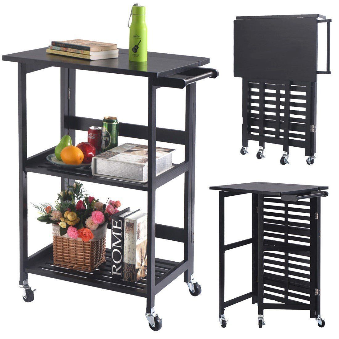 Foldable wood kitchen cart utility serving rolling cart wcasters
