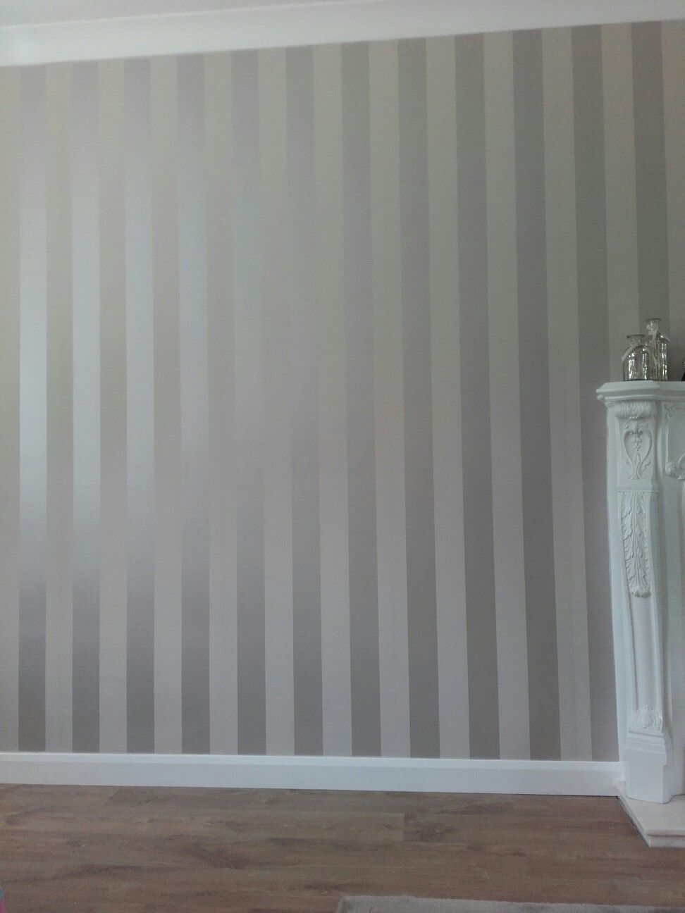 . Laura ashley truffle stripe wallpaper   Living room in 2019