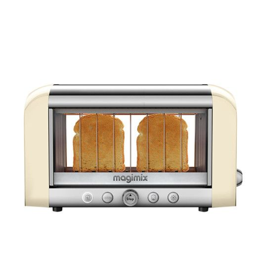 Magimix 11527 2-Slice Vision Toaster - Have you ever popped a few slices of bread into your toaster and come back to burnt dry sadness? Now you can watch as your bread gains a warm golden glow with the Magimix 11527 2-Slice Vision Toaster. This double duty toaster heats up bread, buns, crumpets, and bagels in a clear windowed body. - Found at myWebRoom.com