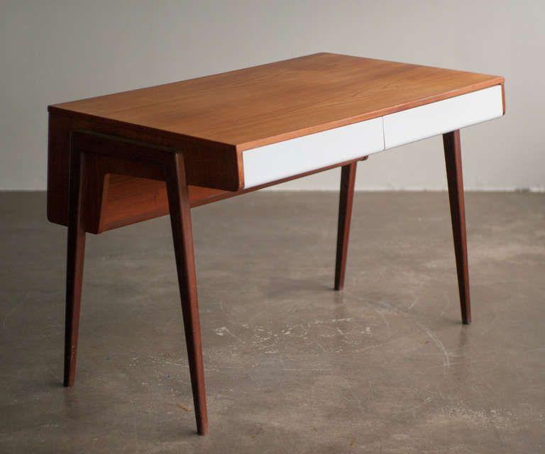 1950 S Dutch Mid Century Modern Teak Desk 1stdibs Com Mid Century Desk Vintage Mid Century Modern Furniture Small Mid Century Desk