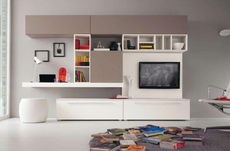 meubles de salon en bois massif et blanc laqué, pouf design assorti