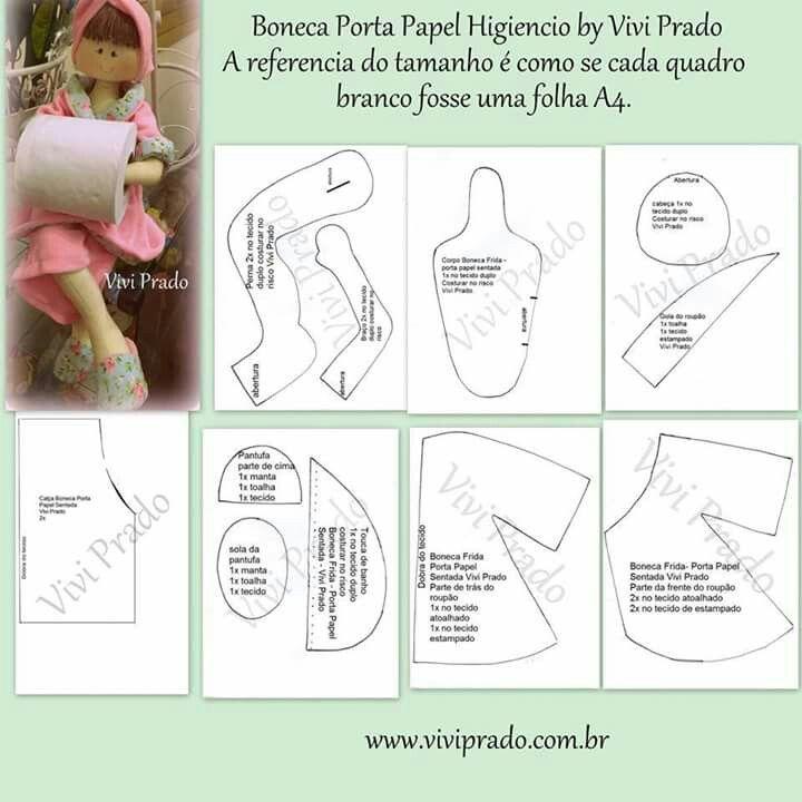 Muñeca portarrollos | muñecos y moldes | Pinterest | Dolls, Sewing y ...