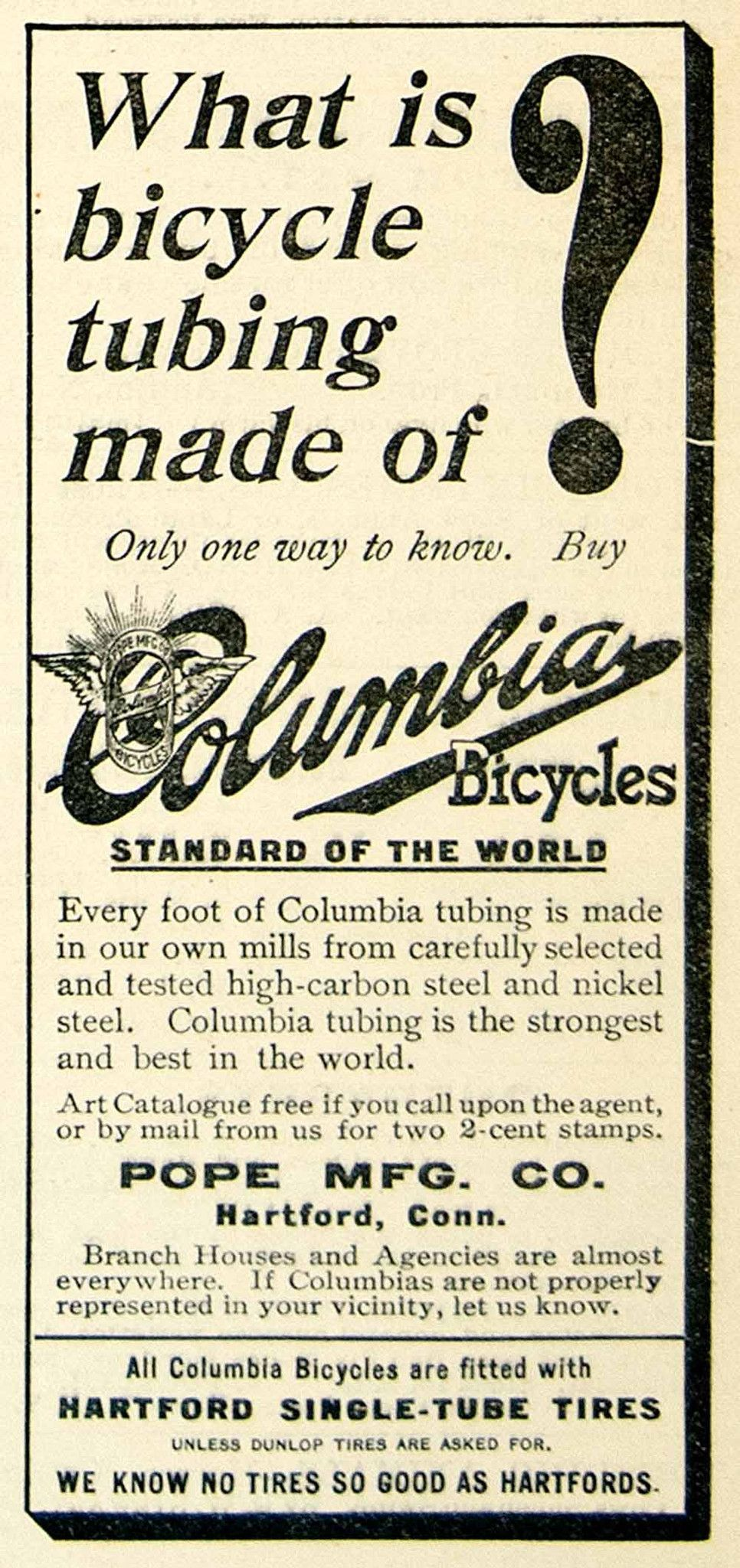 1896 Ad Columbia Bicycle Single Tube Tires Pope Hartford Ct Transporta Bicycle Connecticut History Print Ads