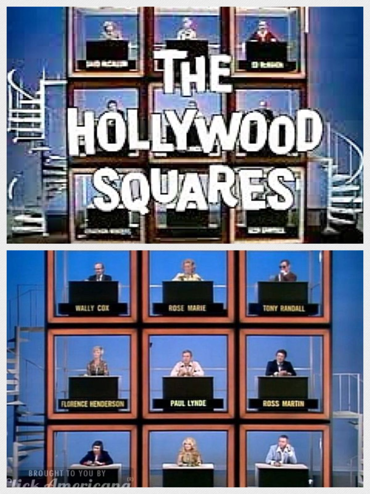 The Hollywood Squares (1965-1982). The long-running celebrity tic-tac-toe game show features celebrities placed in strategic positions. They are asked questions and the contestants have to judge whether the answer is correct or a lie. The first contestant to successfully get three Xs or Os in a row wins, as is the norm with tic-tac-toe.