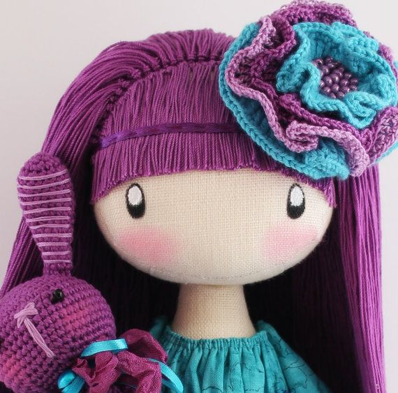 Doll Flossya purple and turquoise cloth doll por DollsLittleAngels